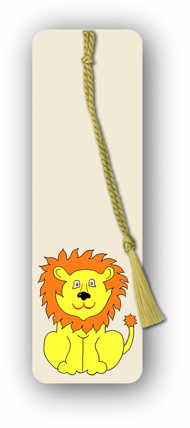 Children's Bookmark - Lion with gold tassel (F455)
