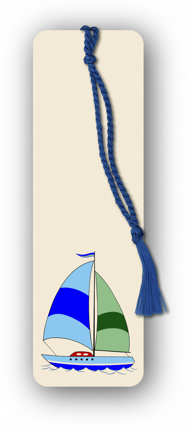 Children's Bookmark - Sailing Boat with gold tassel (F457)