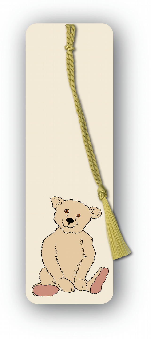 Children's Bookmark - Teddy Bear with gold tassel (F458)