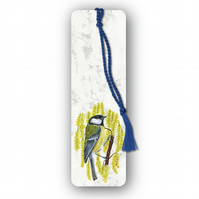 Animal British Bird Wildlife Great Tit Bookmark on Marble board (F358)