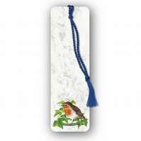Animal British Bird Wildlife Robin Bookmark on Marble board (F360)