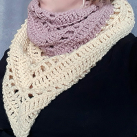 Ladies shawl neck scarf in pink and sand colours