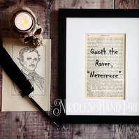 Gothic Decor - Halloween Decor - Edgar Allen Poe - Book Page Print- Gothic Quote