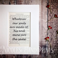 Wuthering Heights Quote Print - Love Quotes - Romantic Gifts -  Passion Quotes