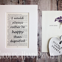 Jane Eyre Gifts - Literary Gifts - Book Quote Prints - Booklover Gifts - Ooak