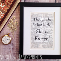 Though she be but little Print - Gift for Her - Vintage Quotes - Art Prints