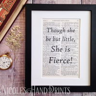Gift Boxed - Though she be but little Quote Print - Gift for Her - Vintage Art