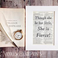 Though she be but little Quote Print - Gift for Her - Inspirational Art Prints