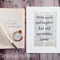 Cheerful Quote - Vintage Book Page Print - Quotes on Life - Shakespeare Art