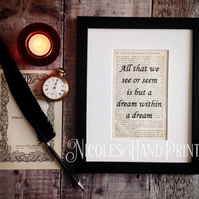 A dream within a dream quote - Gothic Poetry - Gothic Art - Edgar Allen Poe Art