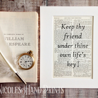 Gift for Friend - Friendship Quotes - Gift Boxed Prints - Wall Art - Upcycled