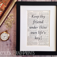 Gift for Friend - Friendship Quotes - Upcycled - Vintage Prints - Wall Art
