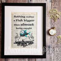 Funny Fishing Gifts - Gifts for Men - Funny Fishing Quote Print - Fish Picture