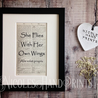 She Flies With Her Own WIngs Print - Graduation Gifts- Craft Room Ideas - Quotes