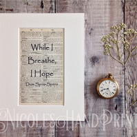 While I Breathe I Hope Latin Print - Inspirational Art - Dum Spiro Spero Print