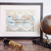 Mark Twain Travel Quote - Old World Map Prints - Travel Gift Ideas - Vintage Map