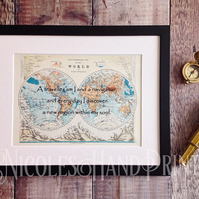 Kahlil Gibran Travel Quotes - Kahlil Gibran on Life - Old World Map Print
