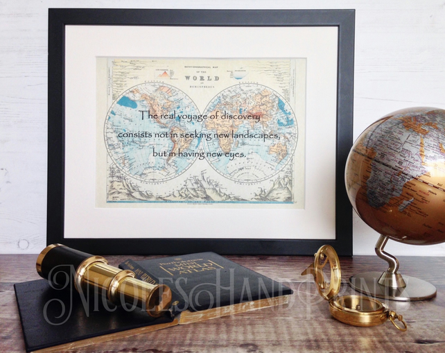 Proust Quotes Travel - Old Map World - Travel Gifts - Voyage of Discovery Map