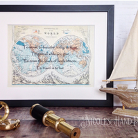 Old World Map Print - Travel Gifts - Travel Quote Prints - Mounted World Map