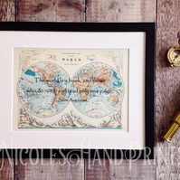 Travel Gift Ideas - The World Is A Book Print - Old World Map Pictures - Map Art