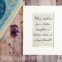 Jane Austen Book Page Print - Beautiful Quote - Book Lover Gifts - Gifts for Her
