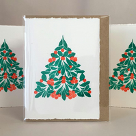 5 pack - Hand-Printed Cranberry Xmas Tri Cards