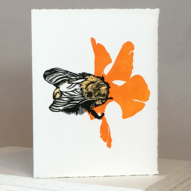 'Wheal Margery Bee' - Orange Flower - Greetings Card