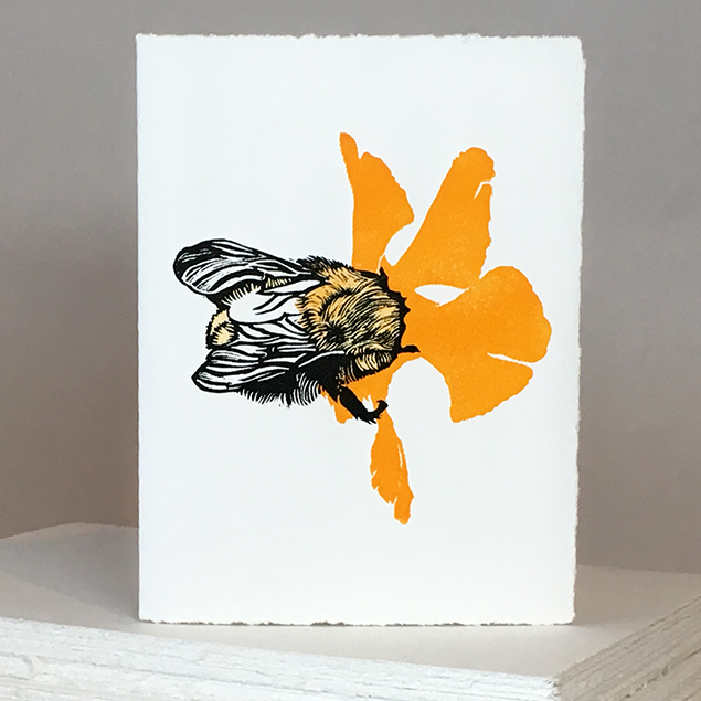 'Wheal Margery Bee' - Yellow Flower - Greetings Card