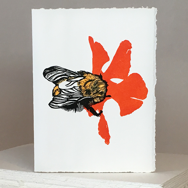 'Wheal Margery Bee' - Red Flower - Greetings Card or Notelet