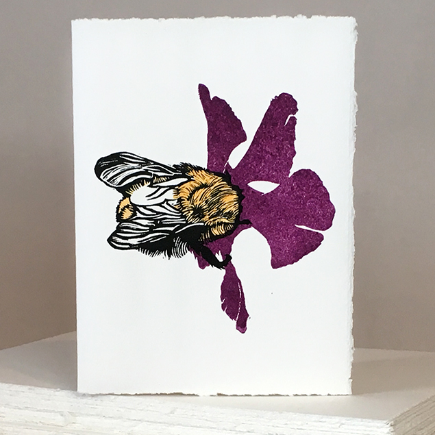 'Wheal Margery Bee' - Purple Flower - Greetings Card