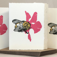 'Wheal Margery Bee' - Pink Flower - Greetings Card or Notelet