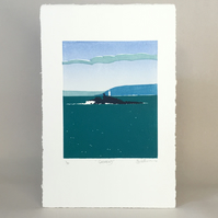 Godrevy Lighthouse - Original limited edition linocut print