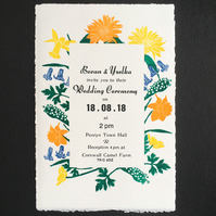Wedding Invitation Set -HandPrinted linocut & letterpress- SAMPLE (without text)