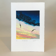 Swifts - 'The Aerialists' - Original LinoCut Edition Print