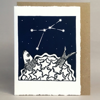 StarGazey Skies - Cancer Zodiac Birthday Card (June 21 - July 22)