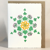 ...& The Ivy - Snowflake Christmas Card  - HandPrinted Linocut