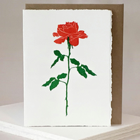 Hand Printed Linocut - Single Rose - Valentines, Anniversary, Engagement Card