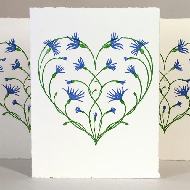 Cornflower Love Heart - LinoCut Card