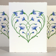 Cornflower Love Heart - LinoCut Card - Valentine, Anniversary, Engagement..
