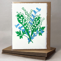 Flora Day - Lily of the Valley & Bluebells - Greetings Card or Notelet