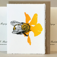 'Wheal Margery Bee' - Yellow Flower - Original Print Lino Cut Card