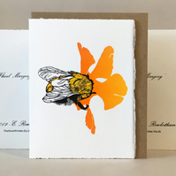 'Wheal Margery Bee' - Orange Flower - Original Print Lino Cut Card