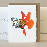 'Wheal Margery Bee' - Red Flower - Original Print Lino Cut Card