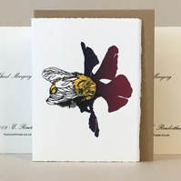 'Wheal Margery Bee' - Dark Plum Flower - Original Print Lino Cut Card