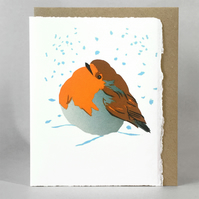 Snow Bath - ROBIN LinoCut Christmas card