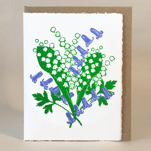 Lily of the Valley & Bluebells - Original Hand Printed LinoCut Card