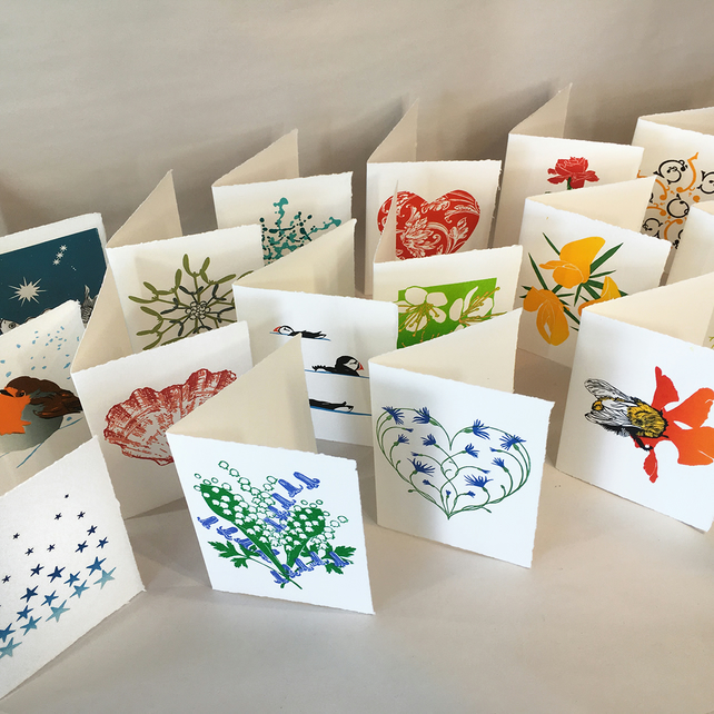 Original Hand Printed LinoCut Cards - 3 Cards of your choice