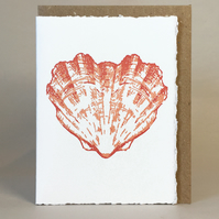 Heart Shaped Scallop Shell - Original Hand Printed LinoCut Card - send some love