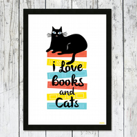 I Love Books And Cats A4