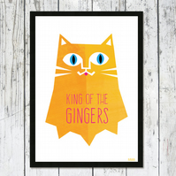 King Of The Gingers cat print